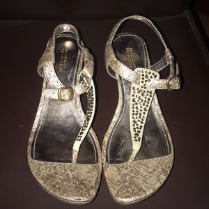 Bronze Snakeskin Pattern Wedge Heels